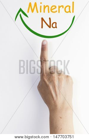 Senior woman's hands and finger showing mineral na, vitamins. Sodium. isolated on white background