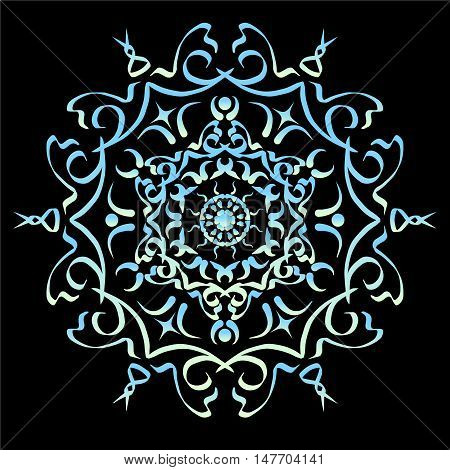 Blue gradient ornament element abstract vector illustration