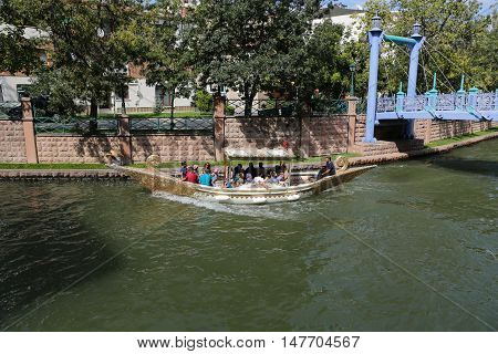 ESKISEHIR TURKEY - SEPTEMBER 03 2016: Gondola tour in Porsuk river. Porsuk river is one of the most populer touristy place with boat tours and entertainment in Eskisehir.