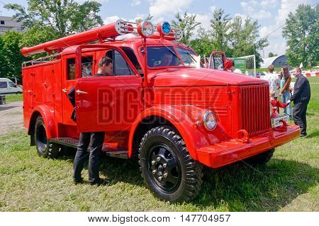 Kharkiv Ukraine - May 22 2016: Soviet retro GAZ-21US vintage fire-engine vehicle manufactured in 1965 is presented at the festival of vintage cars Kharkiv Retro Rally - 2016 in Kharkiv Ukraine on May 22 2016