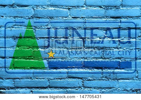 Flag Of Juneau, Alaska, Usa, Painted On Brick Wall