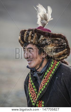 Bayan Ulgii Mongolia September 30th 2015: Portrait of a Mongolian eagle hunter