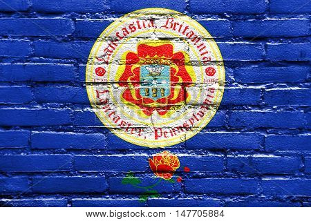 Flag Of Lancaster, Pennsylvania, Usa, Painted On Brick Wall