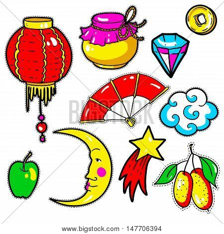 Set of Chinese New Year stickers, pins, patches in 80s-90s comic style. Fashion badges with flashlight, mandarin, moon, coin, star, fan, jam, apple, diamond, apple Cartoon vector elements