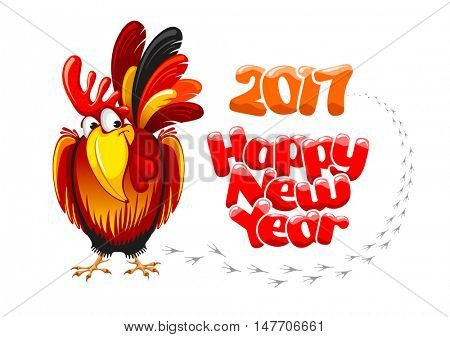 Christmas and New Year greeting card with cheerful rooster with lettering inscription Happy New Year and 2017 digits, isolated on white background. Rooster - symbol of year 2017. Vector illustration.