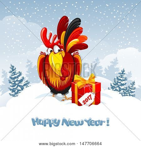 Christmas and New Year greeting card with cheerful rooster with big gift on snowy winter landscape. Rooster - symbol of year 2017. Vector illustration.