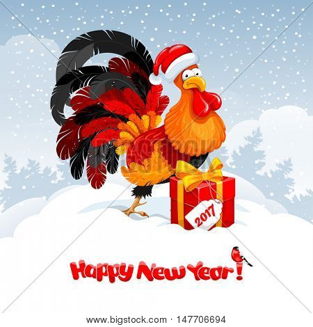 Christmas and New Year greeting card with cheerful rooster in Santa hat with big gift on snowy winter landscape. Rooster - symbol of year 2017. Vector illustration.