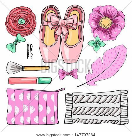 Ballet set. Pointe shoes, knitted gaiters, flowers, feather, hair clips, bows, cosmetic, lipstick, brush. Hand-drawn illustration on white background, mockup