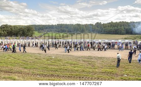 BORODINO RUSSIA - September 09.2009: Frames of metal detectors at the entrance to the venue of the costume show Borodino Day. Free access to public presentation the reconstruction of the Battle of Borodino field in 1812 year
