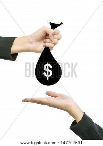 Closeup working woman hand give money bag in us dollar currency to another people hand hold out to receive isolated on white background in business concept with clipping path