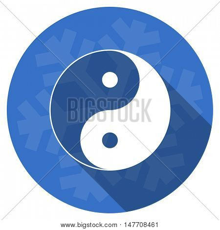 ying yang blue flat design christmas winter web icon with snowflake