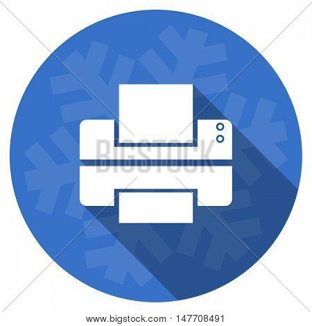 printer blue flat design christmas winter web icon with snowflake