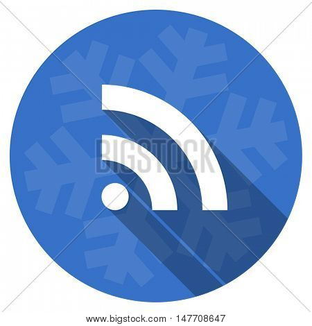 rss blue flat design christmas winter web icon with snowflake