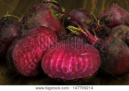 Fresh Red Beets Cut In Half