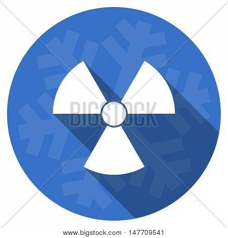 radiation blue flat design christmas winter web icon with snowflake