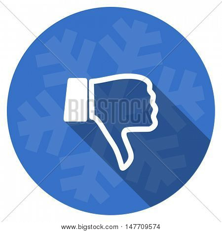 dislike blue flat design christmas winter web icon with snowflake