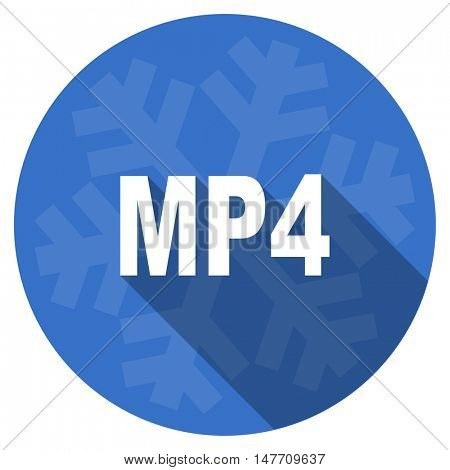 mp4 blue flat design christmas winter web icon with snowflake