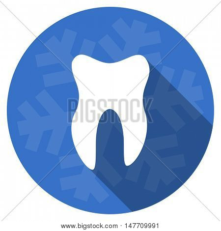tooth blue flat design christmas winter web icon with snowflake