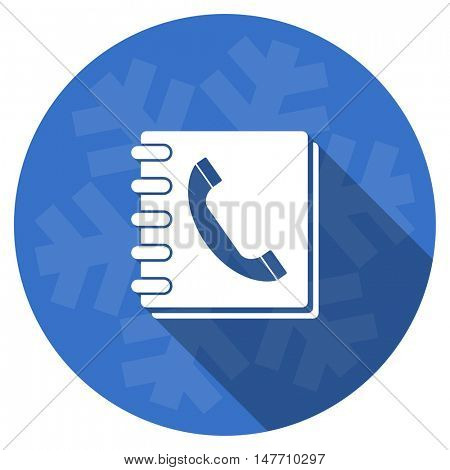 phonebook blue flat design christmas winter web icon with snowflake