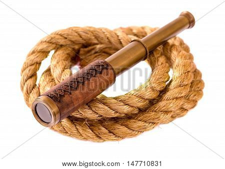 Telescope and rope isolated on white background