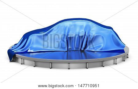 Car On The Podium Covered With A Blue Satin Cloth Before Presentation. Side View. 3D Rendering.