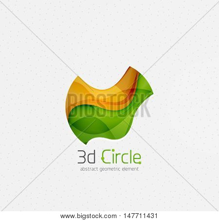 Abstract brand logo design on white. Circle with bold relief effect, 3d imitation waves with shadows. Blue, green, yellow and green colors