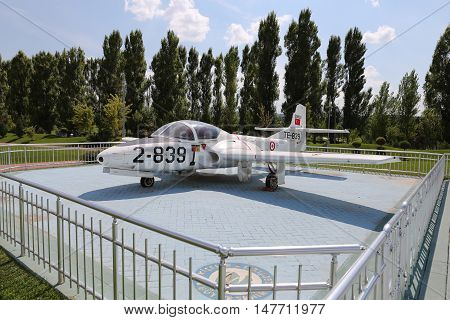 ESKISEHIR TURKEY - SEPTEMBER 04 2016: Cessna T-37C Tweety Bird in Sazova Science Art and Cultural Park. T-37C Tweety Bird is twin engined jet trainer attack type aircraft.