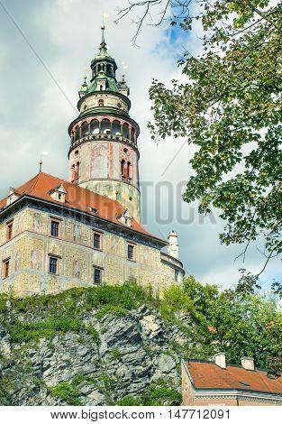 Tower of medieval castle of Cesky Krumlov.Czech Republic