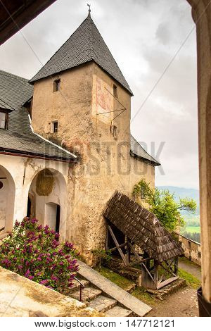 Tower of the old medieval Castle Hochosterwitz in Carinthia.Austria