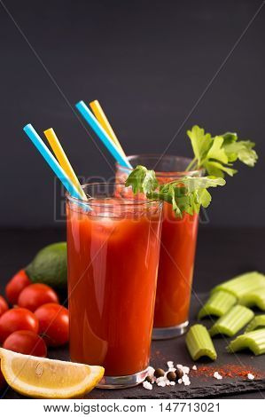 Two glasses of Bloody Mary cocktail drink