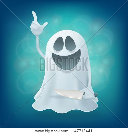 laughing funny cartoon ghost character with knife. Vector illustration