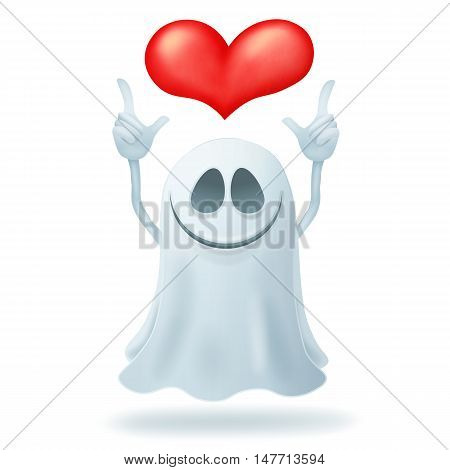 Smiley cartoon ghost character with heart. Vector illustration