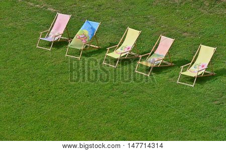 relaxing chairs on the lawn southern Moravia Czech Republic
