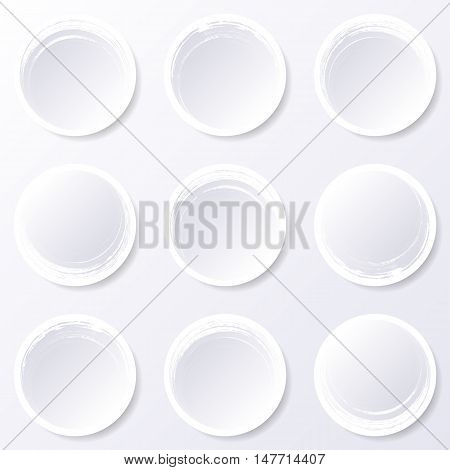 Blank brush strokes circle buttons web design collection