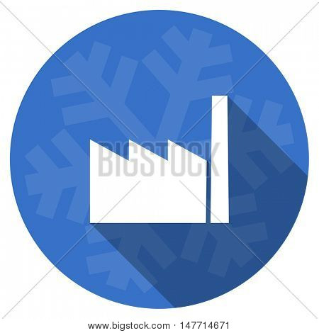 factory blue flat design christmas winter web icon with snowflake