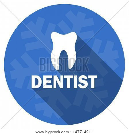dentist blue flat design christmas winter web icon with snowflake