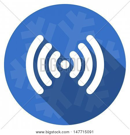 wifi blue flat design christmas winter web icon with snowflake