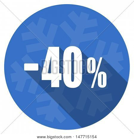40 percent sale retail blue flat design christmas winter web icon with snowflake