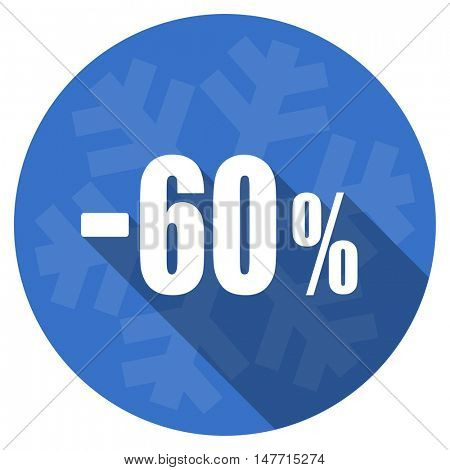 60 percent sale retail blue flat design christmas winter web icon with snowflake