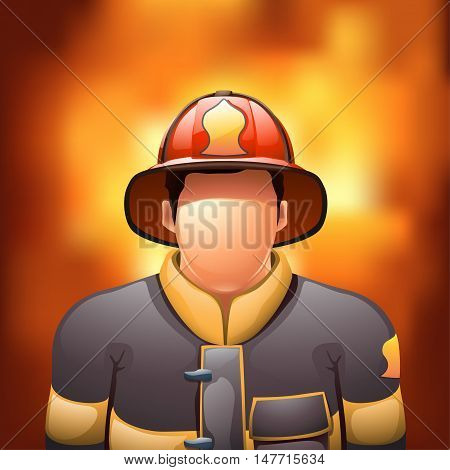 illustration of male fireman behind the fire background