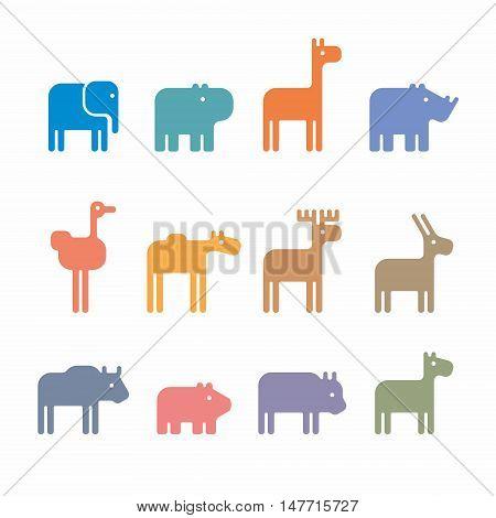 Set of animal icons and cartoons of wild animals