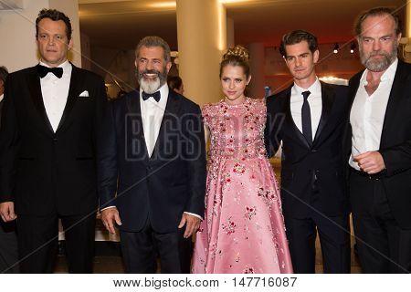 Mel Gibson, Teresa Palmer, Andrew Garfield, Vince Vaughn, Hugo Weaving  at the premiere of Hacksaw Ridge at the 2016 Venice Film Festival.