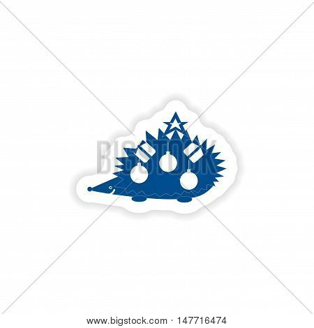 paper sticker on white background  hedgehog gifts