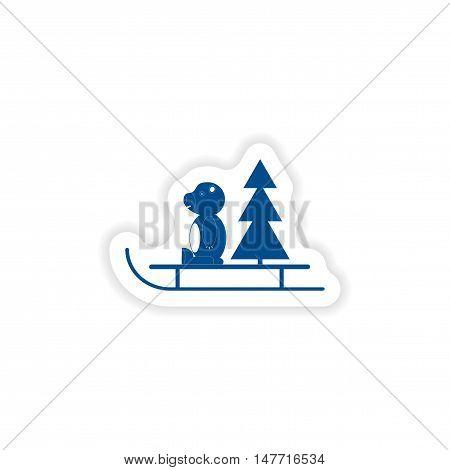 paper sticker on white background  Bear sled tree
