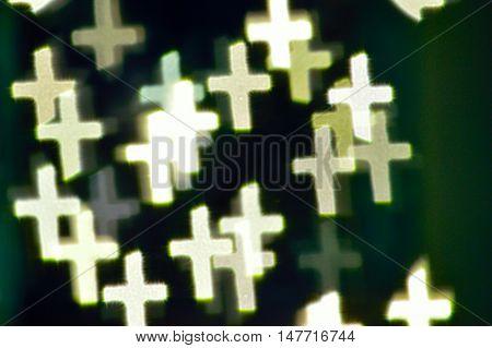 Bokeh Lights Shaped Like Crosses