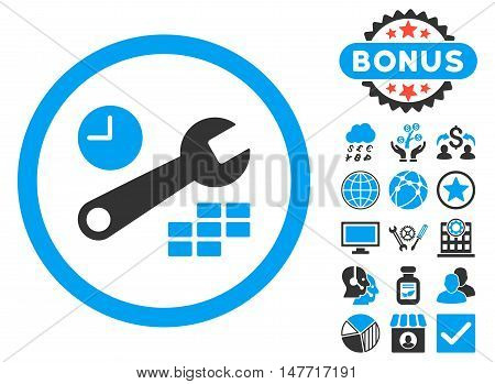 Date and Time Configuration icon with bonus elements. Vector illustration style is flat iconic bicolor symbols, blue and gray colors, white background.