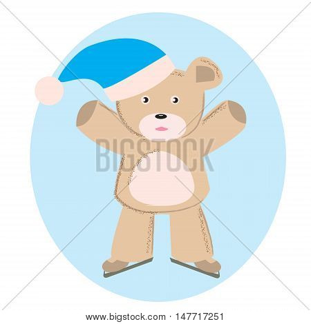 Bear skater on skates. Funny skater on skates. Abstract isolated illustration on white. Hand drawn vector illustration. Cartoon Doodle.