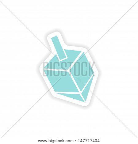 paper sticker on white background  Jewish dreidel