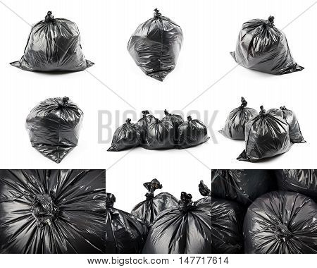 Collage of black garbage bags isolated on white background