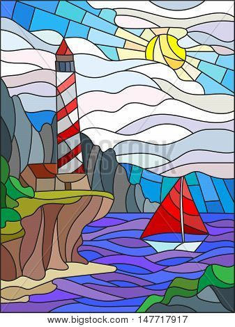Illustration in stained glass style with the seascape lighthouse and sailboat on a background of sun sky and sea
